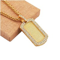 Wholesale men wearing necklaces - Fashion Rhinestone Design Man Dog Tag Gold Color Pendant Necklace Hip Hop Jewelry 75cm Long Chain American Star Popular Wear Necklace Men