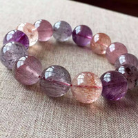 Wholesale Super Melody Stone Bracelets - FREE SHIPPING Hot Sale !!! beautiful Popular new Natural Super Seven 7 Melody Stone Round Beads Bracelet 16mm AAAA