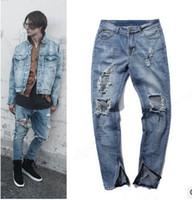 diseño de jeans coreano al por mayor-Mens jeans Moda kpop flaco ripped korean hip hop moda pantalones hombres frescos ropa envío gratis diseño de la cremallera