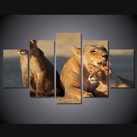 tuval resim setleri toptan satış-Yüksek kaliteli Hayvan Afrikası Aslan Aile Boyama 5 Adet / set HD Basılı Duvar Sanatı Canvas Paintings for Living room Ev dekorasyonu