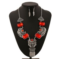 Wholesale Silver Pendant Rectangular - Metal carved tassel necklace feather rectangular gemstone pendant women exaggerated jewelry hot sale Euramerican retro earring necklace set
