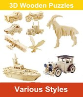 Wholesale Diy Wooden 3d - 2017 Hot Sale 3D Wooden Puzzles Animals Vehicles Ships Cars Helicopter Military Model Jigsaws DIY Educational Toys Gift For Kids