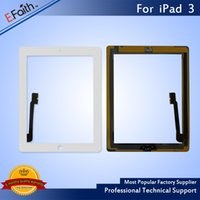 Atacado - Para iPad 3 White Touch Screen Digitizer Substituição com Home Button + Adhesive Free DHL shipping