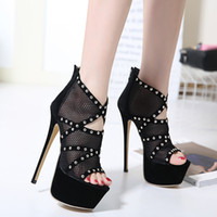 Wholesale Sexy Club Heels - 2017 black lace rivets shoes sexy platform high heels peep toe pumps women party club wear size 35 to 40
