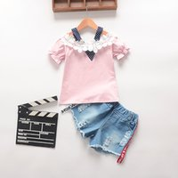 Wholesale Korean Clothing For Kids - Baby girls clothes 2017 summer lace flower T-shirt+short 2pcs sets korean style kid clothing outfit for 1~3Y baby