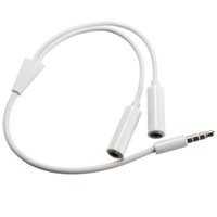 Wholesale Mp3 Earphone Cable - Hot sale 3.5 mm Earphone Headset Headphone MP3 MP4 Audio Stereo Plug Y Splitter Cable Adapter Jack 1 Male to 2 Dual Female