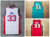 Wholesale Mens Sports Jerseys - #33 Grant Hill Mens Jerseys Top quality Size S-XXL Men Muggsy Bogues Sport Jersey