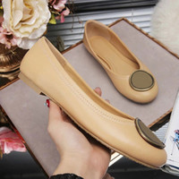 Wholesale Nude Loafer - Jhe04 Brand Gold Metal Buckle Nude Sheepskin Genuine Leather Ballet Flats Casual Slip On Loafers Lady Women Shoes Sz 35-42