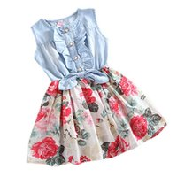 Wholesale Denim Print Brief - Baby Girl Denim Bow Dress 2017 Summer Children Sleeveless Girl Jean Floral Dresses Kids Princess Bowknot Dresses For Girls