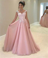 Wholesale China Bandage Dress - Party Dresses Abiti Da Cerimonia Da Sera 2017 A Line Pink Tulle Floor Length Cheap Long Evening Dresses Made in China