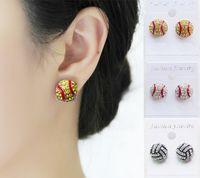 Wholesale Stud Earring Sports - Earring Studs Softball Baseball Football Basketball Volleyball Soccer Bowling Skating Rhinestone Crystal Bling for Girls Sports