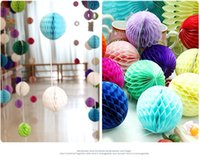 Wholesale Honeycomb Paper Decorations - Wedding Decorative Tissue Paper Honeycomb Balls Flower Pastel Birthday Baby Shower Party Decorations Supplies