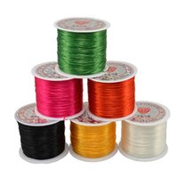 Wholesale Stretchy Beading Cord Wholesale - Jewelry String Cord 50M Nylon Cord Elastic Beads Cord Stretchy Thread String for DIY Jewelry Making Beading Wire Ropes Multi Colors Optional