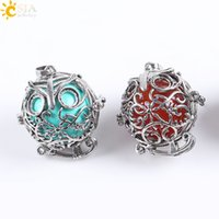 Wholesale Owl Necklace Men - CSJA Vintage Silver Openable Locket Charm Necklace Pendants Owl Bird Cage Round Natural Stone Bead Ball Jewelry for Men Women Gift E683