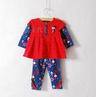 Wholesale Skirts Leggings Flowers - New Girls baby Cartoon dolls printing skirt shirt + flowers Leggings Suit Children 2pcs set wholesale