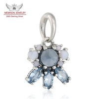 Wholesale Colored Beads For Bracelets - Memnon Jewelry 925 Sterling Silver charm Patterns of Frost Pendant Beads With Multi-Colored Crystal Christmas Charms For Bracelets DIY DA191