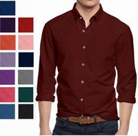 Wholesale 4xl Button Shirt - Men's Long Sleeve Button Down Cotton Slim Fit Pointed Collar Dress Shirt Plus Size Shirt
