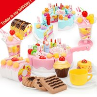 Wholesale Pretend Birthday Cake - DIY Pretend play cutting birthday fruit cake with light kitchen toys playhouse cozinha de brinquedo food toys with orginal box