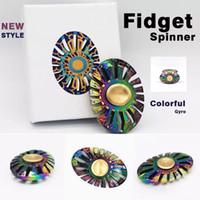 spinner visão ouro venda por atacado-Arco-íris girassol fidget spinner borboleta visão peixe spinner giro mão spinner descompressão ansiedade brinquedos