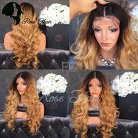 Wholesale Blonde Medium Wavy Wig - Glueless Ombre Full Lace Wigs Human Hair Two Tone 1B Blonde Lace Front Wigs For Women Wavy Dark Root Ombre Human Hair Wigs