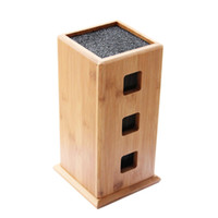 Wholesale knifes block resale online - New Design Stylish Universal Knife Holder High Quality Slotless Bamboo Bristle Knife Block Steady Kitchen Knives Storage Stand