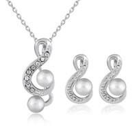 indische perlenschmucksachen großhandel-Schmucksets Perlen Ohrringe Silber Halskette Anhänger Afrikanische Perlen Hochzeitsschmuck Set Indian Jewellery Set Partyschmuck Sets