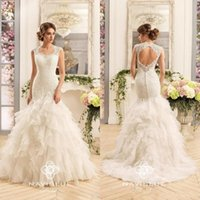 Wholesale champagne organza wedding dresses resale online - 2019 Vestidos De Noiva Vintage Mermaid Open Back Wedding Dresses with Capped Sleeves Ruffles Lace Organza Bridal Gowns
