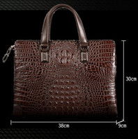 Wholesale Handle Bag Ipad - Top quality Men leather Briefcases Imported genuine Crocodile leather Men buisness Crossbody perfect work Laptop Ipad Ideal bags