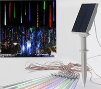 Wholesale Solar Lights Outdoor Wedding - 10pcs Multi-color Solar energy Meteor Shower Rain Tubes 7V LED Christmas String Lights Wedding Party Garden Outdoor Decoration 35cm