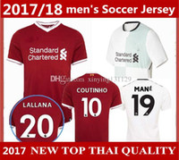 Wholesale Shipping Gold Dhl - Thai quality 2017 2018 Gerrard COUTINHO Soccer Jersey 17 18 liverpooles home away 3RD MANE Sturridge Lucas football shirts 10 pice ship DHL