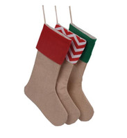 Wholesale New High Quality Canvas Christmas Stocking Gift Bags Xmas Stocking Christmas Decorative Socks Bags inch TOP1947