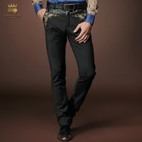 Wholesale Embroidery Menswear - Wholesale-Free Shipping fashion casual Men's New pattern man Menswear Trousers Black Slim Middle-waisted Embroidery Trend Male pants 8003