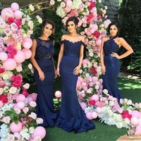 Wholesale Light Summer Color Type - Custom Made Navy Blue Bridesmaid Dresses Mermaid Lace Appliques Bateau Maid of Honor Gowns 3 Type Wedding Guest Dress