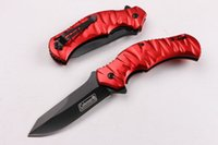 Wholesale red handled knife sets for sale - Group buy Top Funtion Red Hanlde EDC Folder CR15MOV HRC Blade Aluminum Steel Handle Hunting Survival Knife New In Original Box F425L