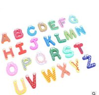 Wholesale Big Refrigerators - 40sets Children Kids English Alphabet Refrigerator Magnets Big Anti-Rust Thickened Baby Wooden Fridge Magnet Magnetic Sticker