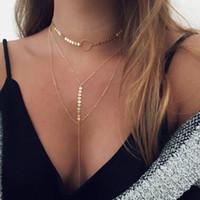 Wholesale Gold Necklace Pendants Bulk - Layered Sequins Choker Necklace Women Silver Gold Chains Body Jewelry Long Chain Pendant Necklace Bulk Price