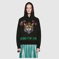 Wholesale Sequin Sleeves For Women - 2017 autumn punk rave fashion tiger blind for love letter rose floral embroidery sequin loose plus size black sweatshirt hoodies women