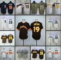 Wholesale Tony Brown Green - San Diego Padres #19 Tony Gwynn Home Away Blue White Grey Cream Brown Camo Throwback Pullover Retro Cool Base Stitched baseball Jersey cheap
