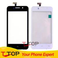 fliegen touchscreen großhandel-Großhandels-IQ 446 Touch Panel Außen Glas für Fly IQ446 Magic Touch Screen mit Digitizer Ersatz Schwarz Weiß 1PC / Lot