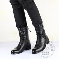 Biker Motorcycle Winter Boots Voltar Lace Up Men Pointy Booties Couro Hi Street Youth Meio joelho High Pleated Zip Bota Militar