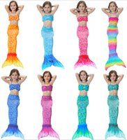 Wholesale Childrens Bikini Swimwear - Baby Mermaid Tail Bikini Two Piece Bathing Suit Kid Swimwear Girls Clothing Childrens Bodysuit Swimsuit For Beach