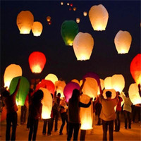 Wholesale Balloon Decor For Weddings - 200pcs Multicolor Chinese Wishing Lantern Flying Hot Air Balloon Fire Sky Lanterns Decor For Birthday Wish Wedding Party