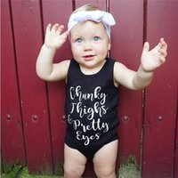 Wholesale Baby Striped Bodysuit - Baby Rompers Latter Printed Sleeveless Summer Boys Jumpusuit New baby onesies Infan Clothes Kids Bodysuit C1177