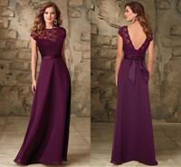 Wholesale Plum Wedding Gown - Maroon Bateau cap sleeves Bridesmaids Gowns backless floor length long plum chiffon lace sash Wedding Guest bridesmaid dresses