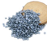 precios de plástico abs al por mayor-Flatback Half Pearl Beads Silver gris Color con plástico Decoden Cabochons ABS Pearl con precio mayorista