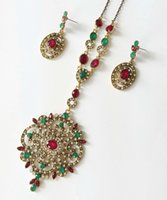 Wholesale african christmas ornaments - New Resin Stone Jewelry Bucolic ZInc Metal Ornaments Relief Style Geometrical Necklace With Earrings Filigree Floral Casted Jewelry Set