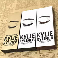 Wholesale Eye Liner Colours - 2017 New kylie Brand Eye Shadow Liner Combination Kylie Jenner Kyliner In 3 colours with Kylie Eyeliner Gel pot Brush DHL free shipping