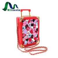 Wholesale Red Trolley - Wholesale- Wholesale Acrylic Mini Luggage Trolley Case Clutch Bag Fashion Women Handbag With Lock Shoulder Chian Cross Body Red