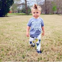 Wholesale Soft Girl Prints T Shirt - 2017 News Children Summer Clothes Sets Infant Baby Boys MAMA's BOY Letter Print T Shirt+Long Pants 2 Piece Sets Kids Soft Cotton Clothes Set