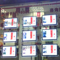 Wholesale Advertising Poster Display - Real Estate Agency Window A3 Vertical Cable Hanging LED Illuminated Acrylic Poster Frame Display System,Double Sided A3 Lightbox